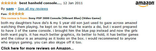 Vibrant Blue Sony PSP 3000