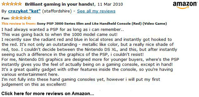 Radiant Red Sony PSP 3000